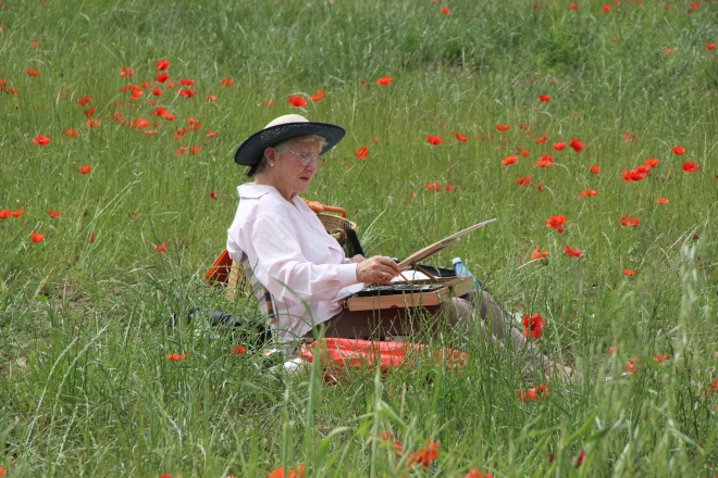Anne painting poppies