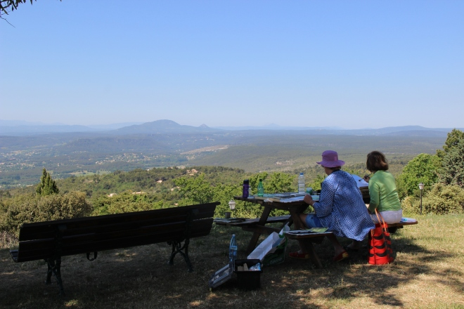 Idyllic morning looking out into the beyond and misty hills caressing and being caressed by a carefree sky and a gentle wind. Hisako and Gilly painting away