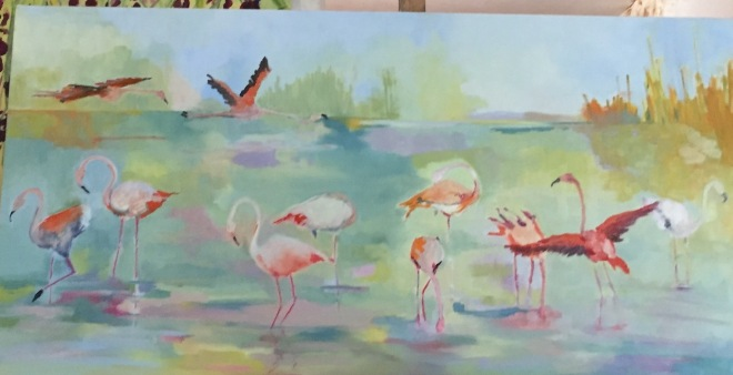 early-stages-flamingo-painting