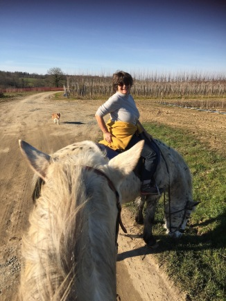 Tess on Polly in the Charente